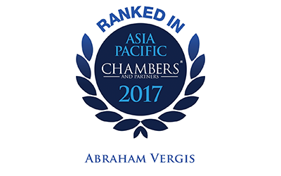 Abraham Vergis is ranked Band 3 for Dispute Resolution: Litigation – Singapore, amongst the top 20 litigation counsel in Singapore