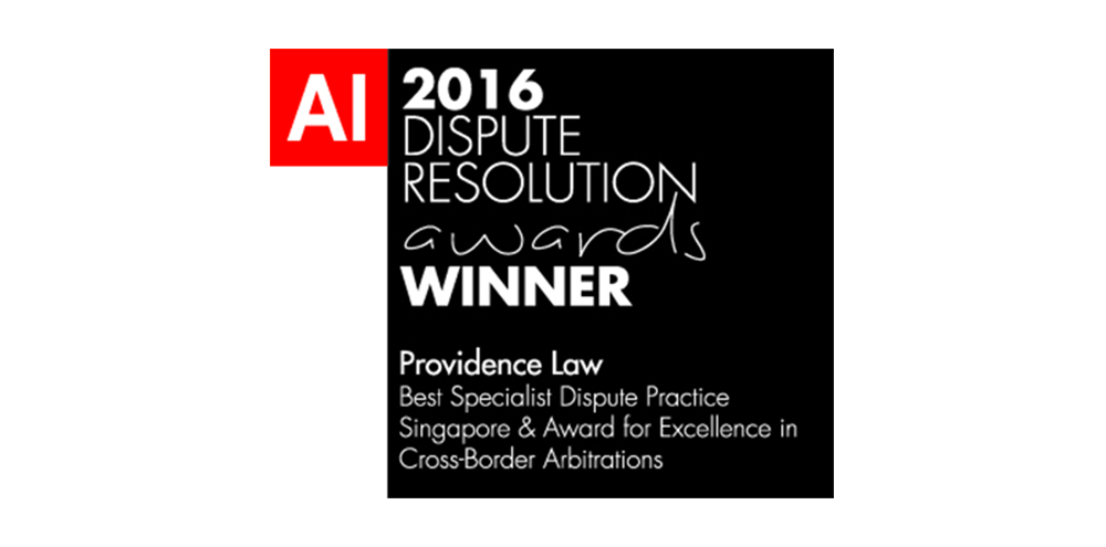 Providence Law named Best Specialist Dispute Practice in Singapore by Acquisition International